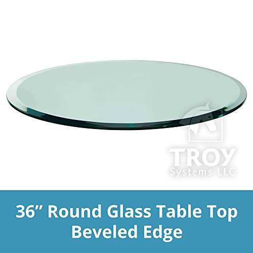 TroySys Round Glass Table Top Custom Annealed Clear Tempered Thick Glass with Beveled Polished Edge For Dining Table, Coffee Table, Home & Office Use - 36