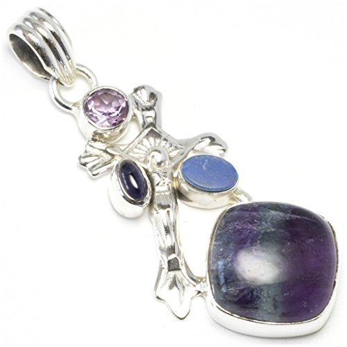 Natural Banded Amethyst, Opal and Amethyst Unique Design 925 Sterling Silver Pendant 1 7/8