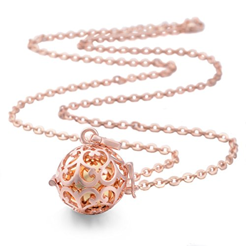 EUDORA Rose Gold Plated Lockets Pendant Necklace with 18mm Sounds Chime Ball Harmony Ball