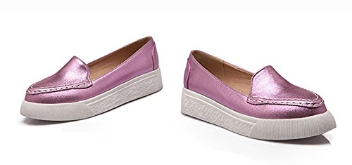 Sfnld Womens Pointy Toe Flat Slip On Leather Loafer Sneakers Purple