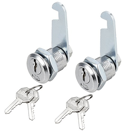 uxcell Drawer Cabinet Cam Lock, 20mm Cylinder Length, Fits on 1/2-inch Max Panel Thickness, Zinc Alloy Chrome Finish, Keyed Alike, 2 Pack