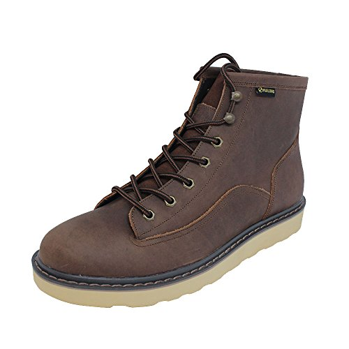SADDY Men's Flat Lace Up Genuine Leather Winter Ankle Hiking Combat Boots Rubber Sole for Work or Hunting