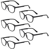 Kerecsen 5 Pairs Retro Round Frame Reading Glasses Spring Hinge Large Readers (5 Pack Black, 1.00)