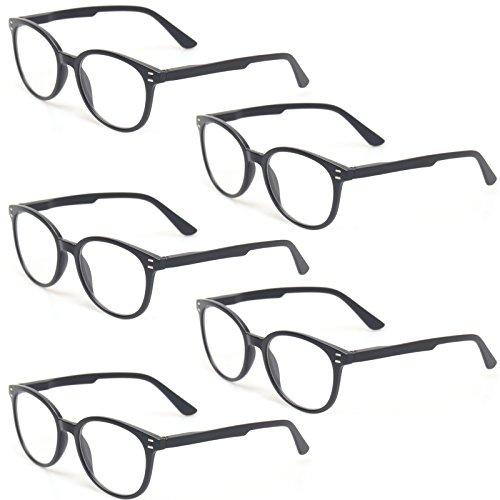 Kerecsen 5 Pairs Retro Round Frame Reading Glasses Spring Hinge Large Readers (5 Pack Black, 1.00) by Kerecsen