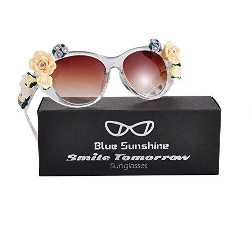 Sunglasses for Women Oversized Cat Eye Glasses Flowers Sunglasses Beach On Vaction UV400 - Beach Sunglasses Long