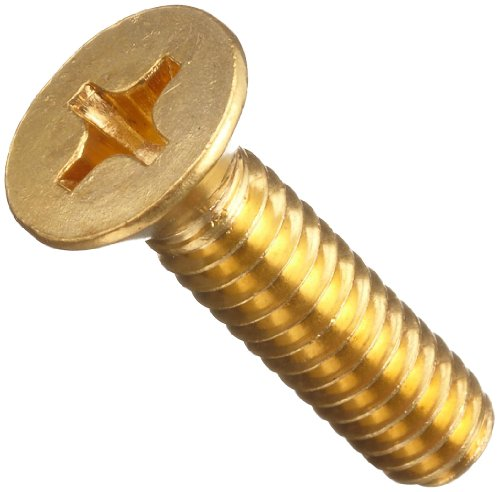 Brass Machine Screw, Plain Finish, Flat Head, Phillips Drive, 2'' Length, 5/16''-18 Threads (Pack of 100) by Small Parts