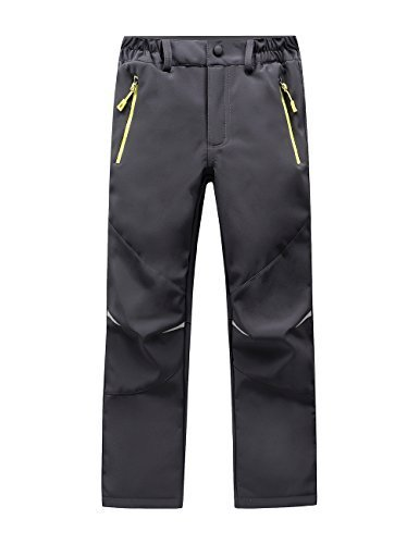 LANBAOSI Kids Boys Girls Waterproof Outdoor Hiking Pants Warm Fleece Lined Grey