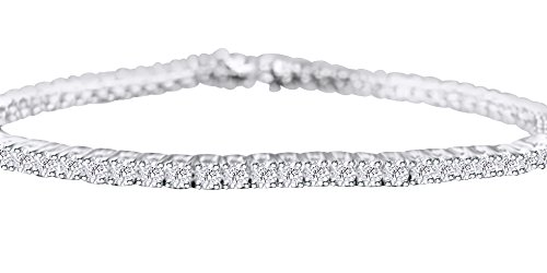 Women's Tennis Bracelet In 14k White Gold Over Sterling Silver 0.25 CT Round White Natural Diamond 8.5