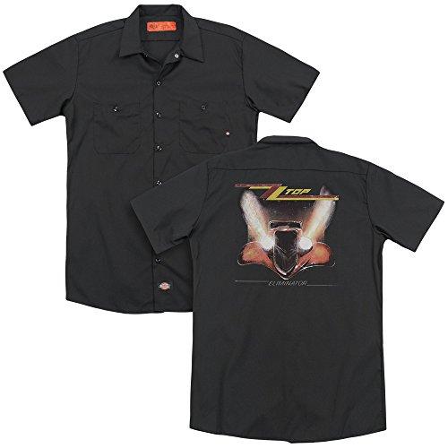 ver (Back Print) Mens Adult Work Shirt Md Black (Zz Top Tour)