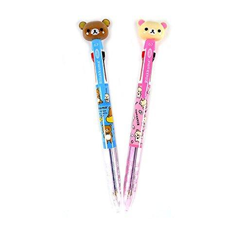 San-x Rilakkuma Mascot 3-Color Ballpoint Pen with Pocket Clip : Set of 2