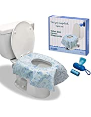 Toilet Seat Covers Disposable - 20 Pack with 40 Disposal Bags - Soft, Extra Large, Non-Woven Waterproof Film, Non-Slip Adhesive - Portable Hygiene & Travel Necessities - Individually Wrapped