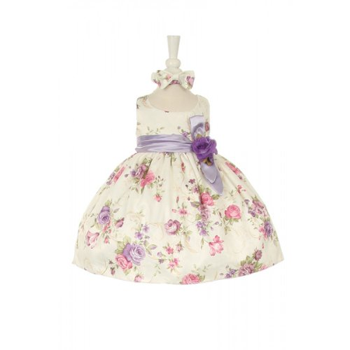 CinderellaCouture-ME839-rose printed jacquard baby dress, burgundy, size L -