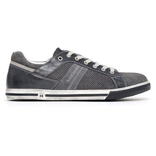 Nero Giardini Uomo Sneakers Jeans in Pelle P800254U Scarpe in Camoscio Primavera Estate 2018 Jeans