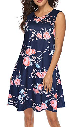 ETCYY Women's Summer Casual Sleeveless Floral Printed Swing Dress Sundress with Pockets Navy Pink