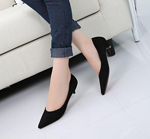Scarpe Da Donna Classiche Slip On Scarpe A Punta Tacco Basso Scarpe Da Donna 01 # Sude Nero