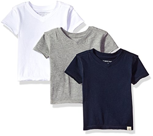 Burt's Bees Baby Baby Boys' T-Shirts, Set of 3 Organic Short Long Sleeve V-Neck Tees, White/Grey/Navy, 18 Months