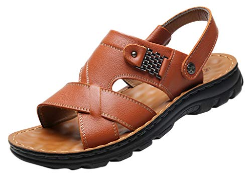 Vocni Men's Open Toe Casual Leather Comfort Shoes Sandals,Yellow Brown_Thick,EU 38-6 M US