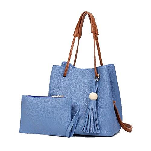 Over Signature Bucket Bag - Beautiful Leather Bucket Crossbody Women Shoulder Bag,Small Purses Handbag(Blue)