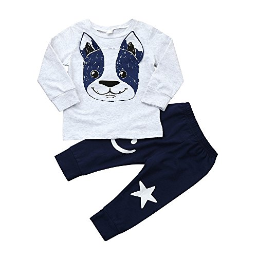 Fartido 2Pcs Toddler Baby Boys Girls Cartoon Dog Ears Tops+Pants Outfit Set (12 Months) for $<!--$6.79-->