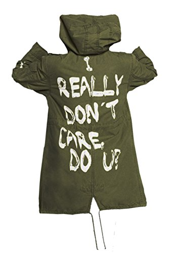 UGFashions Melania Trump i Really Don't Care do U Olive Army Green Graffiti Slogan Coat Jacket (Not Being A Priority In A Relationship)