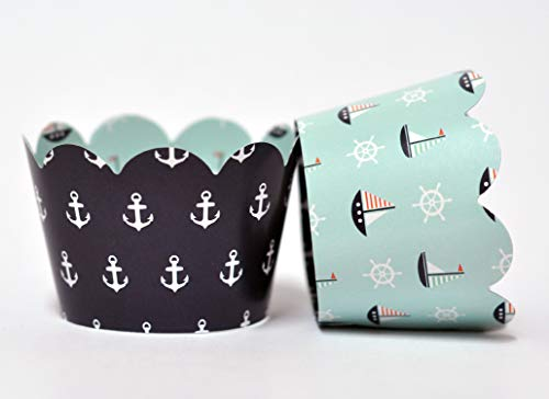 Nautical Cupcake Wrappers for Kids Birthday Parties, Baby Showers, Nautical, Boat, Anchor Themed Parties, and School Events. Set of 24 Reversible Cup Cake Holder Wraps. Navy Blue, Sky Blue, -