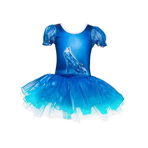 Jastore Girls Princess Crystal Shoes Print Dance Ballet Leotard Tutu Dress Fancy Costume (4-5 (Ballet Dancing Costume)