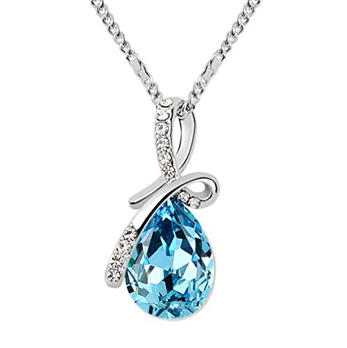 Gold Plated Small Size Swarovski Crystal Elements Eternal Love Teardrop Pendant Necklace Fashion Jewelry for Women (Sea ()