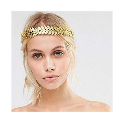 Artio Bride Wedding Headband Gold Leaf Headpiece Bridal Hair Crown for Women and Girls HB009