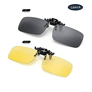 Clip on Sunglasses Flip Up Polarized Sunglasses Eyeglass by AUUS, Frameless Rectangle lens [2-Pack] UV400 Anti Glare Night Vision Glasses for Driving Fishing Cycling Walking Outdoor