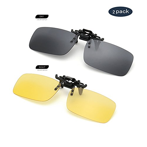 Clip on Sunglasses Flip Up Polarized Sunglasses Eyeglass by AUUS, Frameless Rectangle lens [2-Pack] UV400 Anti Glare Night Vision Glasses for Driving Fishing Cycling Walking - Lenses Polarized Why