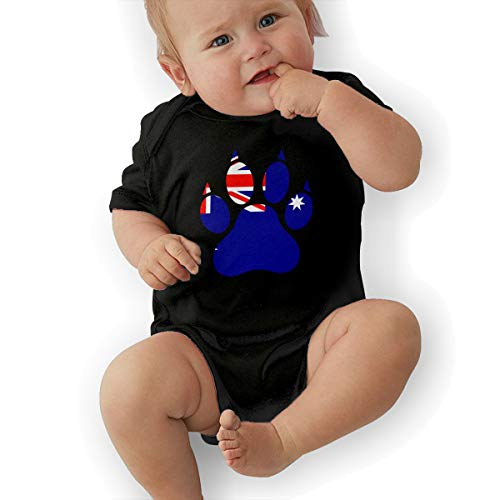 Short Sleeve Cotton Rompers for Unisex Baby, Fashion Australia Flag Dog Paw Jumpsuit -