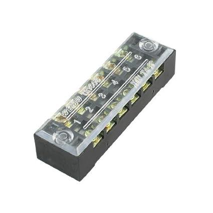 Filas eDealMax 600V 15A dobles 6 puestos cubiertos Barrera tornillo del bloque de terminales