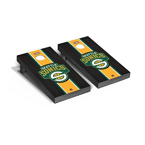Victory Tailgate Hardwood Classics (Basketball) Seattle Sonics '07-'08 Onyx Stained Stripe Version Cornhole Set