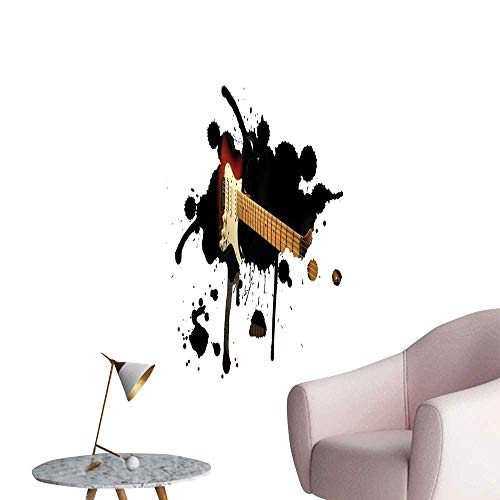 Popstar Party Wall Mural Wallpaper Stickers Electric Guitar Fretboard on Black Grungy Color Splashes Art Large Removable Decals Black Light Brown Cream W16 x H20 ()