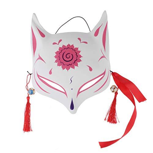 iEFiEL Japanese Half Face PVC Fox/Bunny Mask Masquerade Festival Kabuki Kitsune Costume Face Cover Pink One Size]()