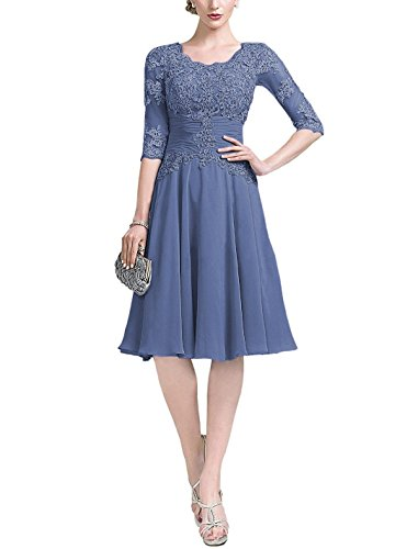 Short Lace Appique Mother of The Bride Dresses Knee Length with Sleeves Women Wedding Party Dress