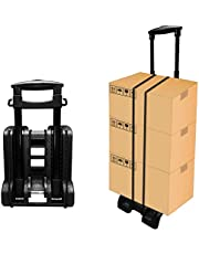 Folding Hand Truck and Dolly,155 lbs Heavy Portable Trolley Compact Utility Cart, 4 Wheels Solid Construction,Adjustable and Lightweight for Luggage, Personal, Travel, Moving and Office Use (BY04)