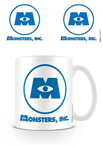 1art1 Set: Monsters, Inc, Logo, Disney Pixar Photo Coffee Mug (4x3 inches) and 1x Surprise Sticker (Monsters Inc Logo Sticker)