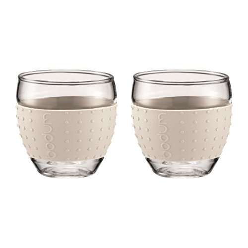 - Bodum 12-Ounce Pavina Glasses with Silicone Grip, White, Set of 2