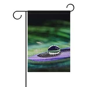 jstel casa en tela de poliéster de plumas de pavo real de gotas de agua Jardín banderas Lovely y resistente al moho Custom de resistente al agua 12x 18inch