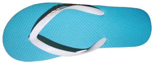 Flip Flop Blu Bicolore Neon A Contrasto Con Cinturini Bianchi