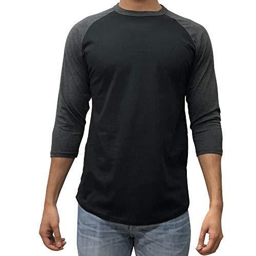 KANGORA Men's Plain Raglan Baseball Tee T-Shirt Unisex 3/4 Sleeve Casual Athletic Performance Jersey Shirt (24+ Colors) (Black Charcoal, XX-Large)