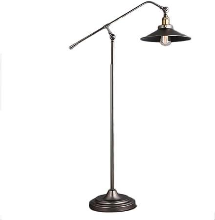 Lámparas de Pie Lámpara Vertical Piso Lámpara de pie de Viento Industrial Estadounidense, Estudio, Sala de Estar, Dormitorio, lámpara de cabecera, lámpara de pie con Brazo Largo de Hierro Forjado LED: Amazon.es: