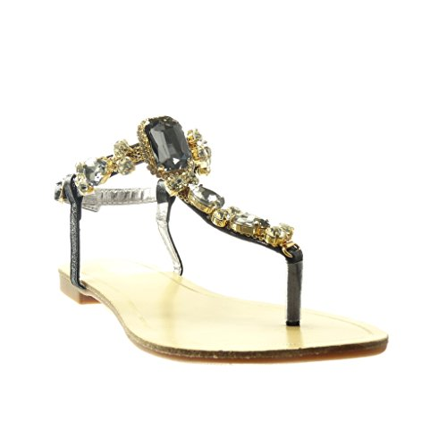 Angkorly - damen Schuhe Sandalen Flip-Flops - T-Spange - Schmuck - Strass - fantasy flache Ferse 1.5 CM - Schwarz