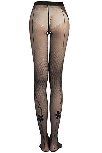 Back Stockings (Stocking Fox Women's 20-Denier Back Seam Flower Print Sheer Tight)