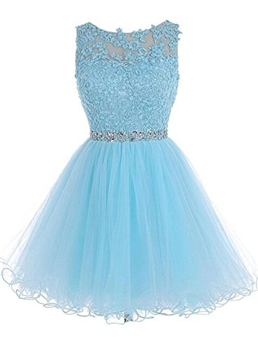 Scoop Neck Elegent Lace Beaded A-line Evening Dress Prom Ball Gown Sky Blue,US14