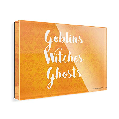 Acrylic Fridge Magnet Goblins Witches Ghosts Halloween Orange Wallpaper NEONBLOND