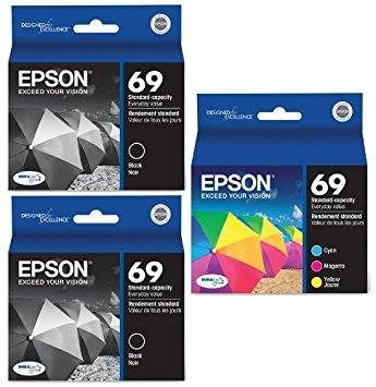 (Genuine Epson 69 DURABrite Ultra Color (Black/Cyan/Magenta/Yellow) Ink Cartridge 5-Pack (Includes 2 T069120 and 1 each of T069220, T069320, T069420))
