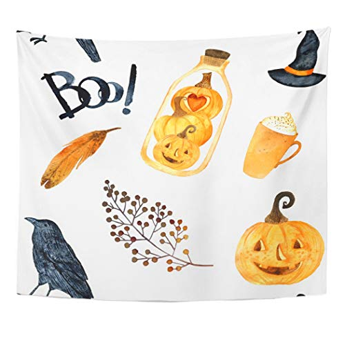 Emvency Wall Tapestry Orange Watercolor Helloween Perfect for Thanksgiving Halloween Design Recipe Holiday Pumpkin Crows Terrarium Bird Yellow Decor Wall Hanging Picnic Bedsheet Blanket 60x50 Inches]()