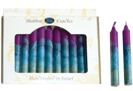 Safed Candles Shabbat Candle Set with Purple and Blue Stripes